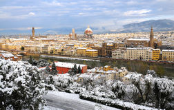 Florence on a snowy day in winter, Tuscany, Italy. Florence on a snowy day in winter, basilica of santa croce, cathedral of santa maria del fiore, and old palace Stock Image