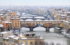 Florence on a snowy day in winter, Tuscany, Italy. Florence on a snowy day in winter, Cathedral of Santa Maria del Fiore Stock Photography