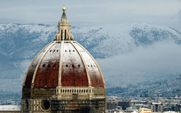 Florence on a snowy day in winter, Tuscany, Italy. Florence on a snowy day in winter, Cathedral of Santa Maria del Fiore Stock Image