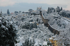 Florence on a snowy day in winter, Tuscany, Italy. Florence on a snowy day in winter, Forte Belvedere Stock Image