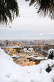 Florence on a snowy day in winter, Tuscany, Italy. Florence on a snowy day in winter, old bridge - Ponte Vecchio Royalty Free Stock Photography