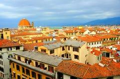 Florence stad från över, Italien Arkivfoto