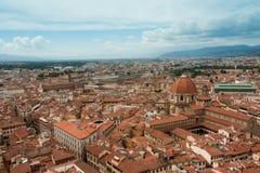 Florence - stadssikt, flyg- sikt av tak, från det Klockor tornet Royaltyfria Foton