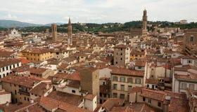 Florence - stadssikt från det Klockor tornet med Santa Croce, Palazzo Arkivbilder