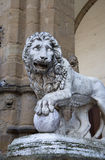 Florence, the statue of a lion Stock Photography