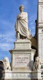 Florence staty av Dante Alighieri Arkivbilder