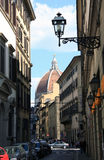 Florence, street and cathedral Stock Photo