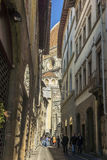 Florence street and The Duomo, Cathedral in Florence, Italy Stock Photography