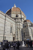 Florence street and The Duomo, Cathedral in Florence, Italy Royalty Free Stock Image