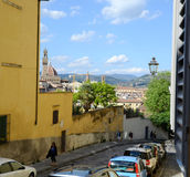 Florence Street scene. Florence Via Del Forte Di San Giorgio - Typical street in the old Florence Royalty Free Stock Photography