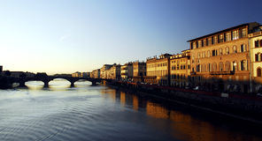 Florence - Sunset. Sunset over the Arno river in Florence Royalty Free Stock Photography