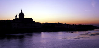 Florence - Sunset. Sunset in Florence seen from Ponte alla Carraia Stock Image