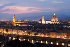 Florence after sunset, Dumo and Santa Maria del Fiore, Firenze, Stock Images