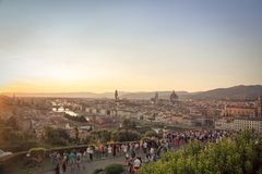 Florence. Sunset at one of the Florence overlooks Royalty Free Stock Images