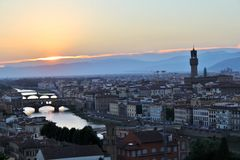 Florence at sunset. Sunset over the Arno and the town of Florence Royalty Free Stock Images