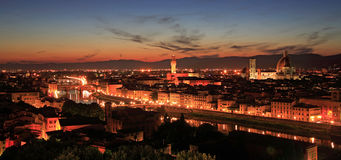 Florence Sunset Panorama. Nightscape of Florence taken shortly after sunset Stock Images