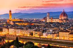 Florence,. Sunset skyline view stock photo