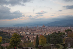 Florence at sunset. View from Basilica San Miniato al Monte. Tuscany. Italy. Stock Photo