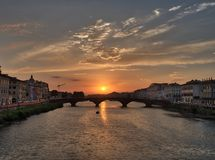 Florence Sunset View from Bridge royalty free stock photography