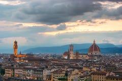 Florence sur un coucher du soleil, Italie Image libre de droits