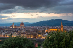 Florence sur un coucher du soleil, Italie Photos libres de droits