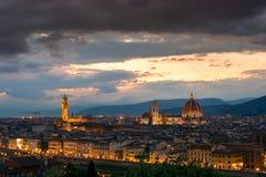 Florence sur un coucher du soleil, Italie Images libres de droits