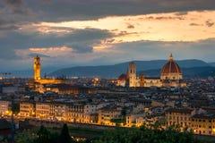 Florence sur un coucher du soleil, Italie Photo libre de droits
