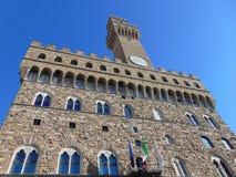 Florence Toscanië Italië Arnolfotoren in Palazzo Vecchio stock foto's