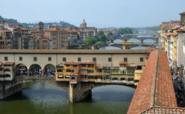 Florence Tourists in Spring, Italy, Arno, Vecchio Stock Photography