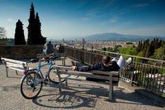 Florence Tuscany - April 09, 2011 - panoramautsikt av Florence Fotografering för Bildbyråer