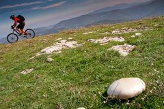 Florence Tuscany - climb with mountain bike from the artificial Royalty Free Stock Images