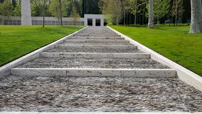 A staircase in the Florence American Cemetery and Memorial, Florence, Tuscany, Italy royalty free stock image