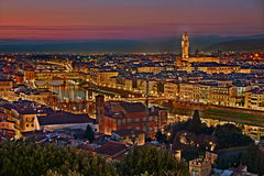 Florence, Tuscany, Italy: cityscape at twilight Stock Photos