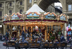 Florence, tuscany, italy, europe, christmas festivities. The carousel of republic square during the christmas festivities royalty free stock photo