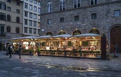 Florence, tuscany, italy, europe, christmas festivities. The square of signoria in florence during the christmas festivities with decorations Stock Photos