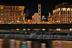 Florence, Tuscany, Italy: landscape at night with the Church of Royalty Free Stock Image