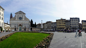 Place called `Santa Maria Novella` with the basilica of the same name. Florence, Tuscany, Italy. May 22, 2017: Place called `Santa Maria Novella` with the royalty free stock photography
