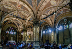 Polychrome vaults and interior of the church museum called `Chiesa e Museo di Orsanmichele` Royalty Free Stock Image