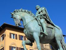Florence Tuscany Italy monument av Cosimo de 'Medici, fyrkant av Signoria arkivfoto
