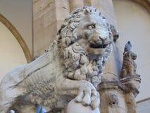 Florence Tuscany Italy. Medici Lion sculpture in Loggia dei Lanzi. stock photos