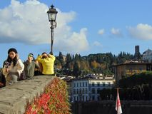 Florence Tuscany Italy, November 8th, 2018. View from the embankment of the Arno River on the city stock images