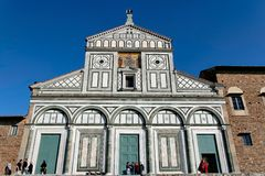 Florence,Tuscany,Italy - San Miniato al Monte. Facade of romanic church of San Miniato al Monte in Florence, Italy Stock Images