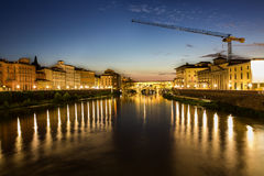 Florence, Tuscany, Italy. View of Ponte Vecchio at night in Florence, Tuscany, Italy Royalty Free Stock Images