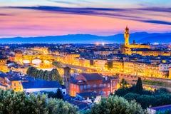 Florence, Tuscany, Italy - Palazzo Vecchio. Florence, Tuscany - Night scenery Arno River and Palazzo Vecchio, Renaissance architecture in Italy Stock Photos