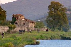 Florence Tuscany - salita con il mountain bike dall'artificiale fotografia stock