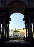 Florence - Uffizi arch. The arch leading to the river Arno from Galleria degli Uffizi royalty free stock images