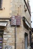 Florence, uffizi street  sign Stock Images