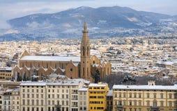 Florence un jour neigeux en hiver, Toscane, Italie Photographie stock libre de droits