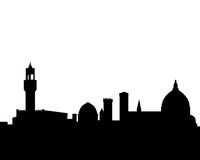 Florence vector skyline silhouette. Vectored illustration as silhouette of the italian medieval city of florence with famous landmarks and monuments Royalty Free Stock Photo