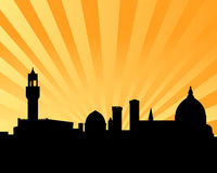 Florence vector skyline sunset. Vectored illustration as silhouette of the italian medieval city of florence as background with famous landmarks and monuments Stock Photography